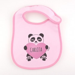 Babero Personalizado Nombre + Oso Panda corazón Rosa