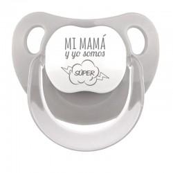 Chupete Baby Deco Gris Mi Mamá mi favorita