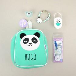 Pack El cole mola personalizado Panda Menta + Regalo Marcaprendas
