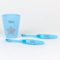 Set 2 Cepillos de dientes + Vasito Personalizados Rosa