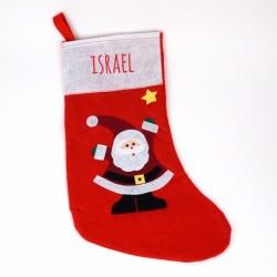 Calcetín Navidad Personalizado Rojo Papá Noel