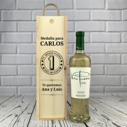 Caja Botella de vino blanco El Mejor Padre del Mundo