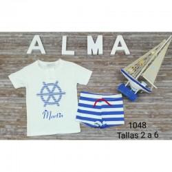 Conjunto infantil lazo bañador más camiseta personalizada