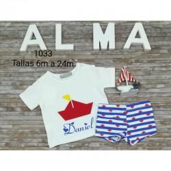 Conjunto infantil barco bañador más camiseta personalizada