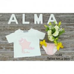 Conjunto infantil barco de papel bañador más camiseta personalizada