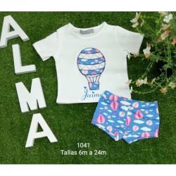 Conjunto infantil star azul bañador más camiseta personalizada