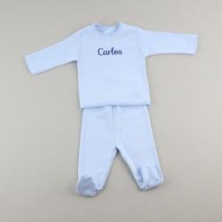BABIDU Pijama Pelele Personalizado Estrellas Gris 1m