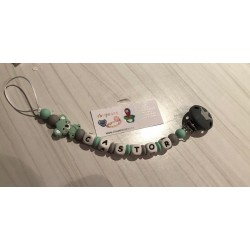 Chupetero de silicona pinza corona + panda verde