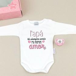 Cajita Divertida Body + Chupete Papá, tu siempre serás mi primer amor Rosa