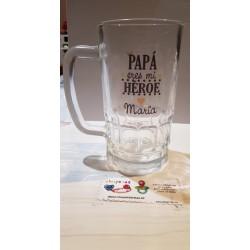 Jarra de cerveza Papá eres mi héroe personalizada