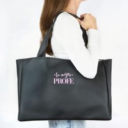 Bolso Shopper polipiel (color a elegir) Profe + Nombre